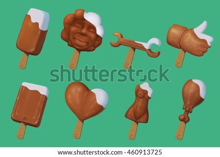 illustration set chocolate ice cream , vanilla ice cream with chocolate, smile, like sign, girl kissing you, girl body, heard, phone, spanner, chicken leg  ストックフォト ©