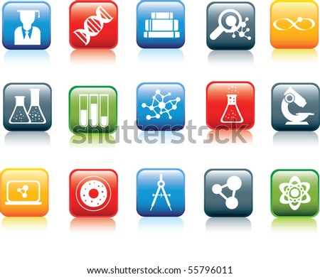 Illustration set of colour icons with reflection and icon in white