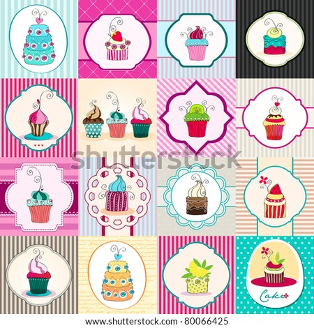 Illustration set of hand drawn cute retro cupcakes backgrounds