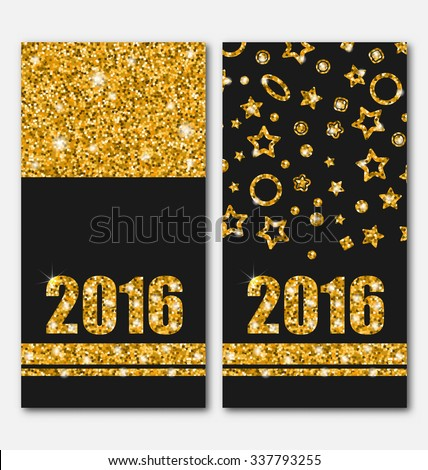 Illustration Shiny Vertical Banners with Lights and Sparkles for Happy New Year 2016 - raster #337793255