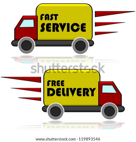 "Illustration showing a truck with the words ""Fast Service"" and ""Free Delivery"""