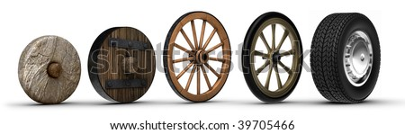 Illustration showing the evolution of the wheel starting from a stone wheel and ending with a steel belted radial tire.