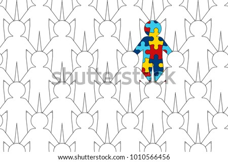 illustration shows World Autism Awareness Day. It depicts a lot of people holding hands together among whom a person with autism syndrome is conferred