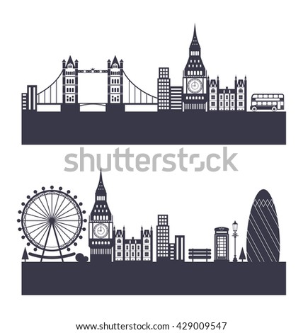 Illustration Silhouette Background of Abstract London Skyline - raster