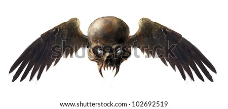 illustration skull with the wings