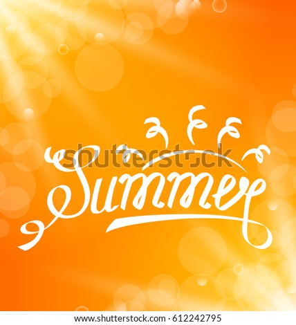 Illustration Summer Abstract Banner with Text Lettering, Sun Rays -