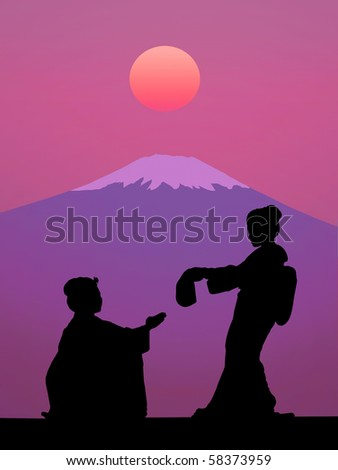 Illustration symbolizing Japan: rising sun above Fuji Mount and silhouette of two Geisha in kimono.