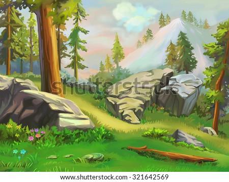 stock photo illustration take a short rest in the mountain woodland fantastic cartoon style wallpaper 321642569 - Каталог — Фотообои «Для детской»