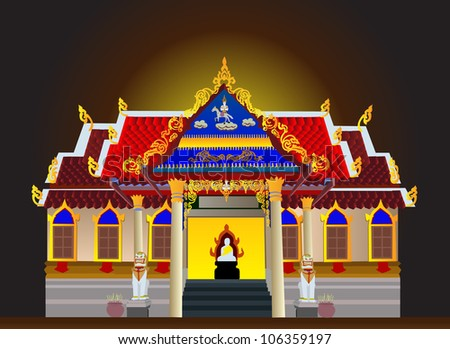 Illustration - Temple in the night with the moonlight. - stock photo