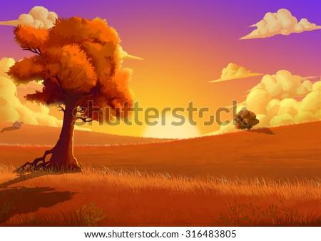 stock photo illustration the autumn fantastic cartoon style scene wallpaper background design with story 316483805 - Каталог — Фотообои «Для детской»