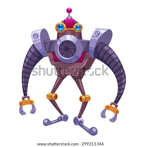 """Stock Photo Illustration: The Black Steel Long Arm Robot in white background. Element Creation/Character Design in a Fantastic Imaginary World Called """"The king and the bird"""". Realistic / Cartoon / Fantastic Style"""