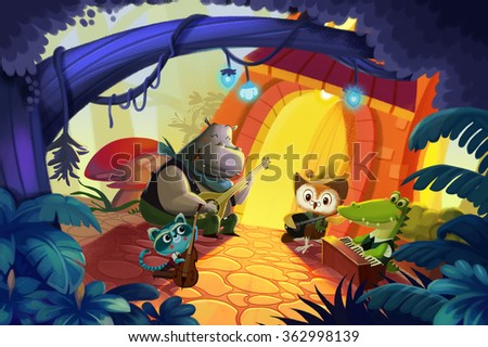 stock photo illustration the forest concert a happy concert was held at forest night by little animal friends 362998139 - Каталог — Фотообои «Для детской»