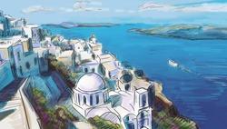 illustration the greek town