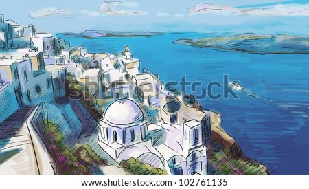 illustration the greek town