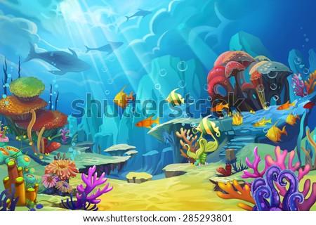stock photo illustration the mountain in the sea fish is like bird scene design fantastic style 285293801 - Каталог — Фотообои «Для детской»