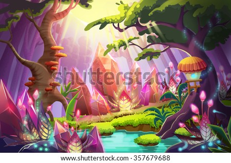 stock photo illustration the mysterious forest with huge diamonds clusters realistic fantastic cartoon style 357679688 - Каталог — Фотообои «Для детской»