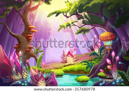 stock photo illustration the mystery forest with strange plants and flowers realistic fantastic cartoon style 357680978 - Каталог — Фотообои «Для детской»