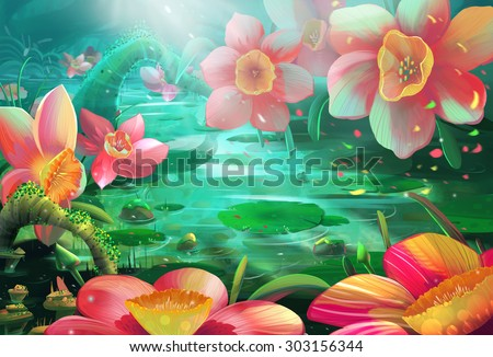 stock photo illustration the peaceful flower river where a fairy visits often realistic cartoon style 303156344 - Каталог — Фотообои «Для детской»
