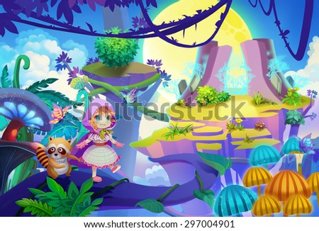 Stock Photo Illustration: The prince and her raccoon friend finally muster up the courage to step out onto the vine. Seems it's the only path to other side of the mountain. Cartoon Style. Scene / Wallpaper Design