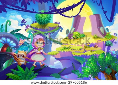 Stock Photo Illustration: The prince and her raccoon friend finally muster up the courage to step out onto the vine. Upgraded Version. Cartoon Style. Scene / Wallpaper Design