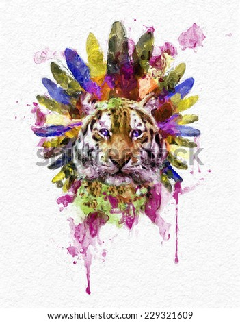 illustration tiger T-shirt Graphics tiger poster artistic tiger high-resolution graphics illustration watercolor tiger graphics Retro design Face of a white bengal tiger