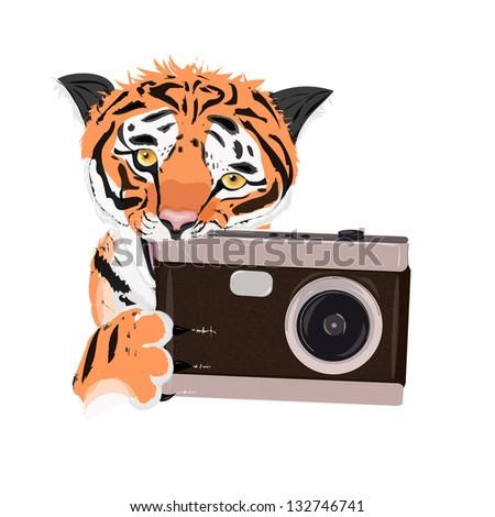 Illustration tigers who gnaws fotoaparat.