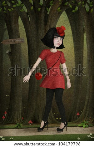 Illustration to  fairy tale Little Red Riding Hood. Computer Graphics.