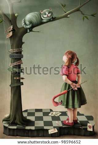Illustration to the fairy tale Alice in Wonderland.