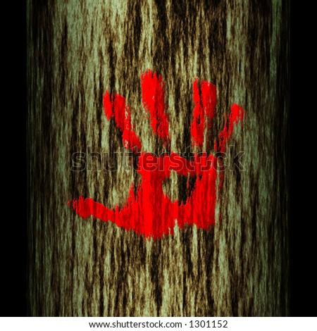 illustration: tree trunk: hand