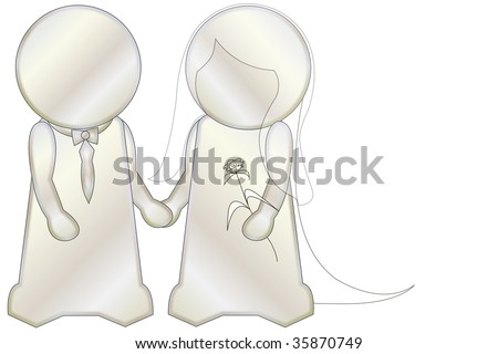 illustration: two white figures holding hands, they marry, white background - stock photo