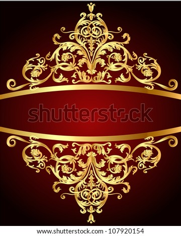 illustration vintage background  red with gold(en) pattern