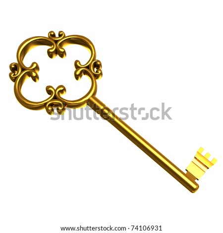 Illustration vintage golden key on white