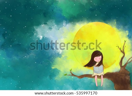 illustration water color drawing of lonely girl sitting on tree branches reading book over full moon yellow moonlight starry night sky. Idea of peaceful, knowledge, enjoy, imagination background