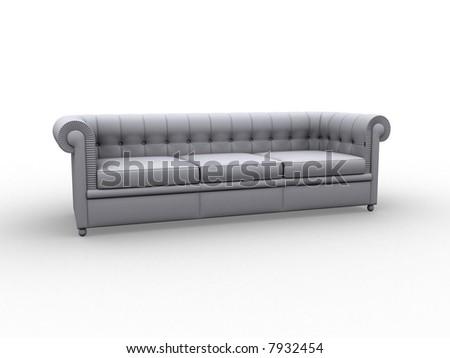 Illustration. White sofa on white background