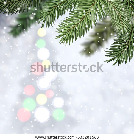 Illustration. Winter composition with Christmas tree on snowfall backdrop and fir tree in the foreground #533281663