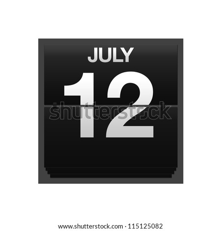 Illustration with a counter calendar july 12.