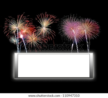 Illustration with a framework white background and fireworks