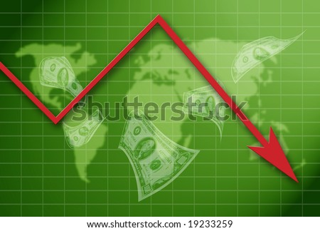 illustration with a world map, graph with arrow pointing downward and dollars