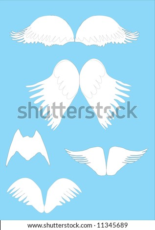 illustration with angel wings isolated on blue background
