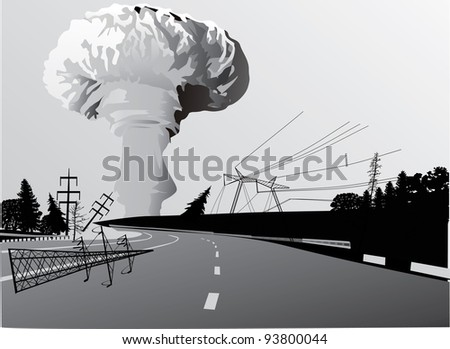 illustration with atomic explosion cloud above road