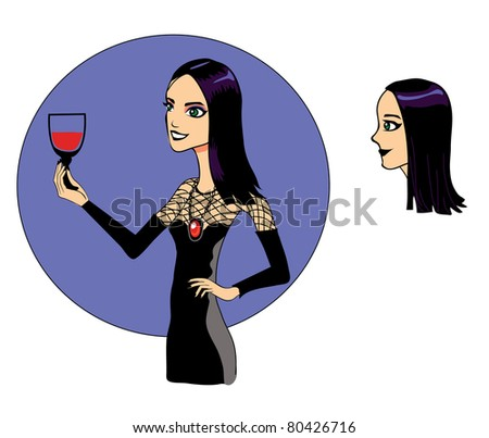 Illustration with black-haired girl with a a glass of wine