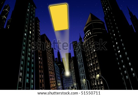 Illustration with city in the background at night with flash of light