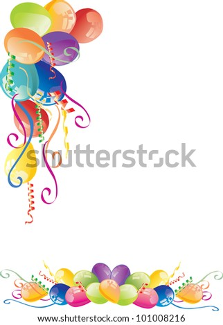 illustration with color balloons corner isolated on white background