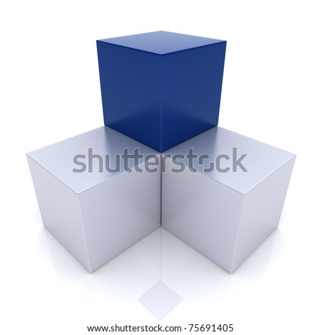 Illustration with cubes union concept (blue collection)