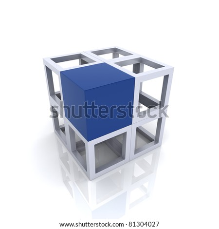 Illustration with cubes, uniqueness concept (blue collection) - stock photo