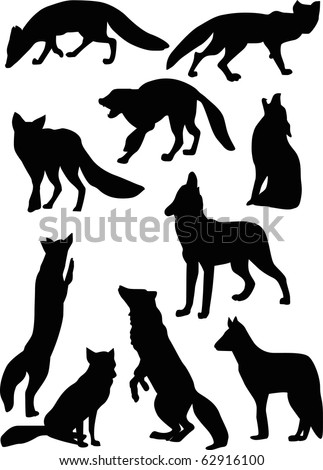 illustration with fox and wolf silhouettes isolated on white background