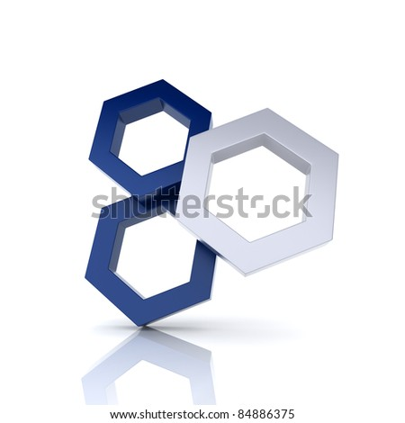 Illustration with frame three hexagons (uniqueness concept)