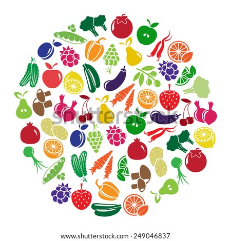 illustration with fruits and vegetables