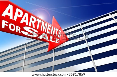Illustration with generic building, red arrow with written apartments for sale on a blue sky