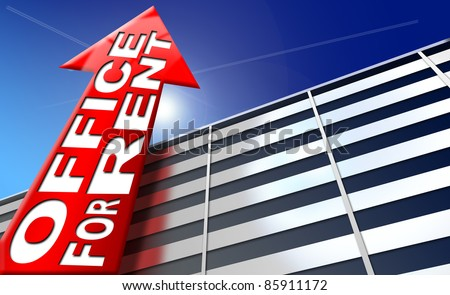 Illustration with generic building, red arrow with written office for rent on a blue sky